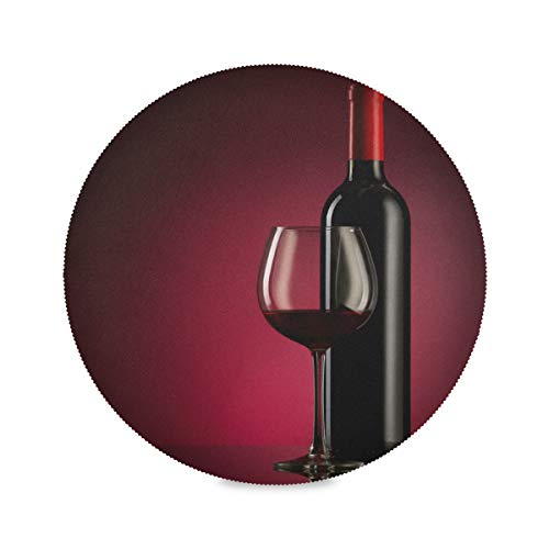 WENXOUAL Round Table Mats Red Wine Glass Bottle Placemats Heat-Resistant Non-Slip Kitchen Place Mats for Dining Table Decor Washable Easy to Clean 15.4' x 15.4' Set of 4