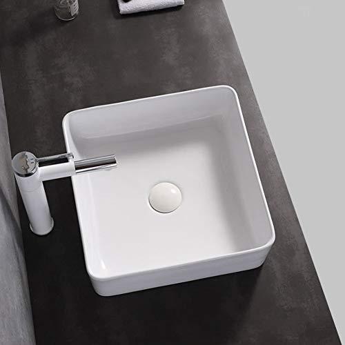 Aynefy Waschbecken, rechteckig, für Badezimmer, quadratisch, Keramik, Weiß, über der Theke, Aufsatzwaschtisch, Waschtisch, Badezimmer, 380 mm