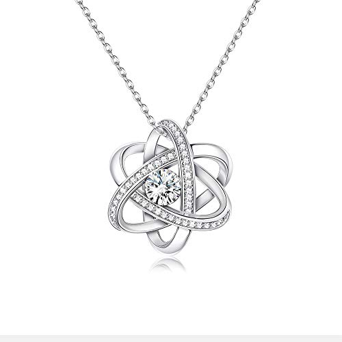 Sllaiss Swarovski Crystals Celtic Love Knot Necklace endless Flower Pendant Necklace set with 3A Cubic Zirconia Anniversary Jewelry Gift for Women