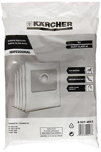 Kärcher 6.907 – 469.0 Zubehör für Absauggeräte Pro NT/T, Beutel Filter Vlies X5