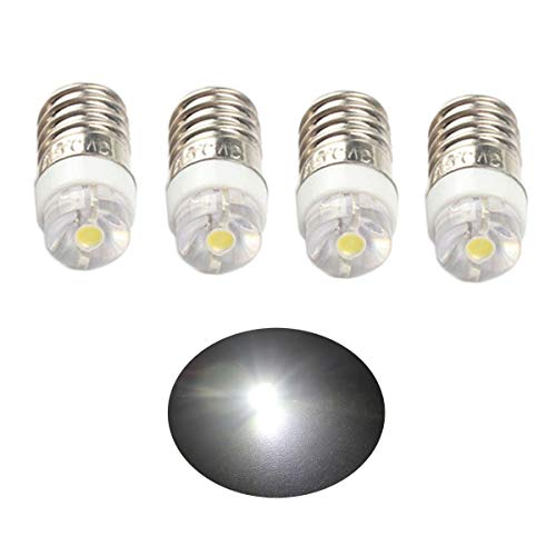 ANFTOP 4X E10 Base Socket LED Bulb DC 3V White 6000K 0.5W Replace Torch Headlight Headlamp Mini Head Lamp Flashlight Bulbs Light Positive Earth Pack Of 4