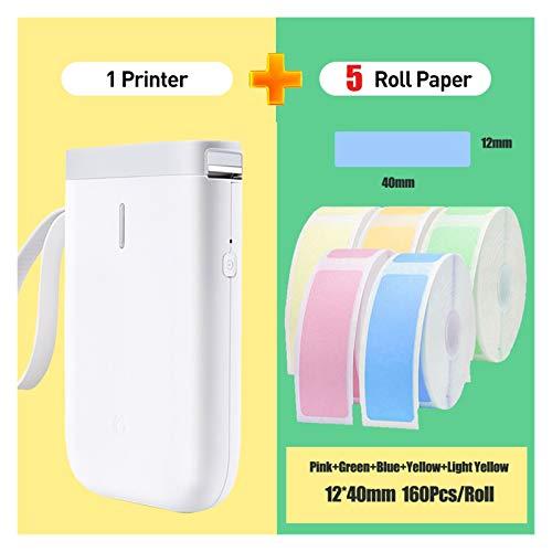 MMD Etiquette imprimante Portable Mini Pocket imprimante Thermique Bluetooth Sticker imprimante Rapide Impression Usage Domestique Bureau (Color : D11 5 Color Label)