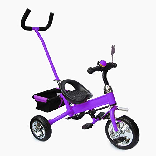 Fair Style Kinderdreirad mit Lenkstange Lila metallic, Kinderfahrrad, Korb, drehbare Lenkstange SERVOLENKUNG mit Steuerung, Beinstellen