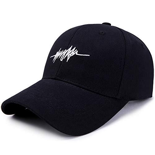 Sombrero al Aire Libre de la Gorra de béisbol de la Lona de la Moda Casual Coreana Gorra Deportiva Sencillo Gorra de Tenis La Moda Sombrero de Pareja Sombrero de Sol de Mujer y Hombre(Negra)