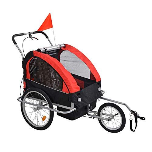 HBIAO Rimorchio per Bici per Bambini, rimorchio per Bici 2 in 1 Rimorchio per Bicicletta per Passeggino per Bambini, rimorchio per Bicicletta per Bambini, con gagliardetto e vano portaoggetti