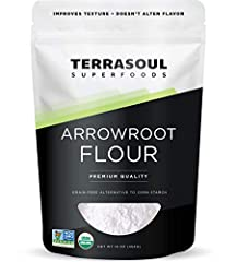Our Arrowroot Flour / Powder is derived from the organic arrowroot species Maranta arundinacea grown in India and packaged in a conveniently resealable 16oz bag. Arrowroot Flour / Powder is perfect for gluten-free cooking, it is a great substitute fo...