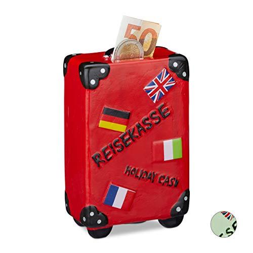 Relaxdays Spardose Urlaub, Koffer, mit Flaggen, Urlaubskasse, Reisekasse, Sparbüchse, HxBxT: 14,5 x 9,5 x 5 cm, rot