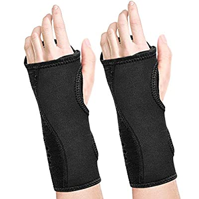 Fibee Night Wrist Sleep Support Brace, Palm Cushion Relieves Carpal Tunnel, Tendonitis, Ulnar Pain Etc, Wrist Splint for Men and Women, Night Wrist Brace with Metal Support for Right Left Hand(Pairs?