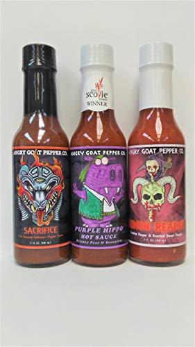 3-Pack Angry Goat Hot Sauce - Sacrifice, Purple Hippo, & Demon Reaper