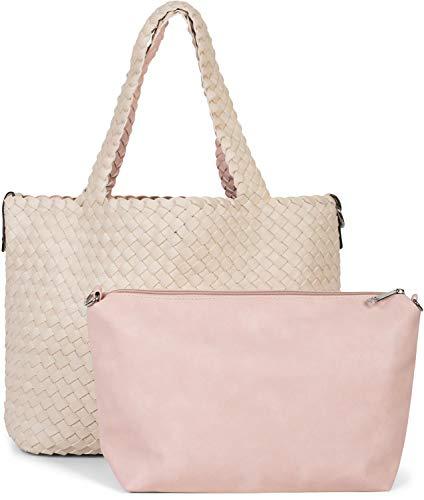 styleBREAKER XXL Wendetasche in Flecht-Optik, Shopper Tasche, 2 Taschen, Handtaschen Set, Bag in Bag, Schultertasche, Damen 02012163, Farbe:Beige/Rose