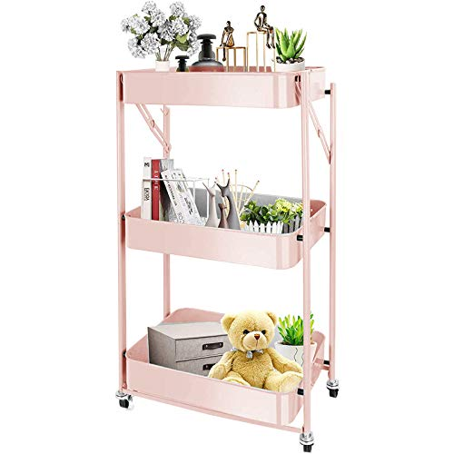 CM67 Folding Kitchen Trolley 3 Tier, Trolley All Purpose Metal, Kitchen Metal Trolley Mit 2 Brakes Kche Badrollwagen for Laundry Room, Office Narrow Places