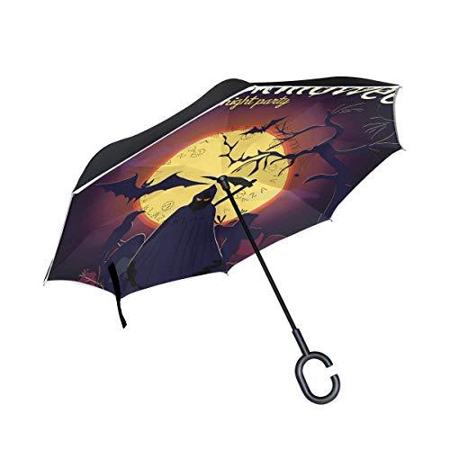 Paraguas plegable inverso grande doble capa resistente al viento UV protección paraguas para coche lluvia uso al aire libre,mango en forma de C auto-pie Halloween Reaper Umbrella