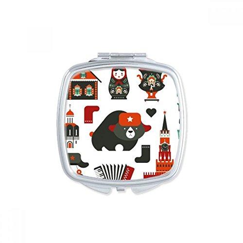 DIYthinker Bär Wodka Akkordeon Puppe Russland Land Kulturplatz Compact Make-up Taschenspiegel Tragbare nette kleine Hand Spiegel Geschenk Mehrfarbig