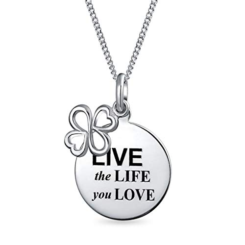 AYLLU símbolo en vivo la vida que amas redondo disco BFF inspirador colgante collar para adolescente dos tonos 925 plata de ley