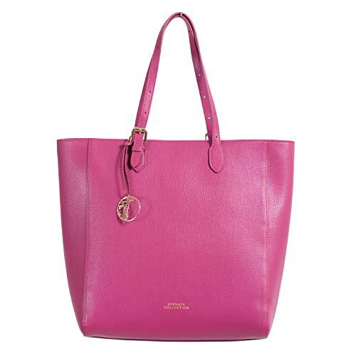Versace Collection Women's Saffiano Purple Leather Tote Shoulder Bag