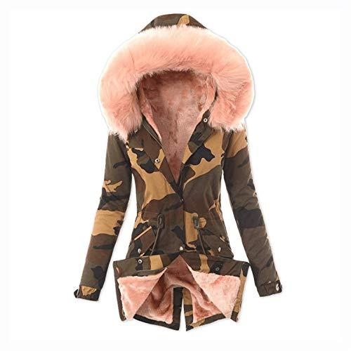 Abrigo de Invierno para Mujer Parka de Invierno con Capucha de Piel Chaqueta Parka de Invierno Larga y Delgada con Forro cálido Elegante (Color : Pink, Size : 4XL)