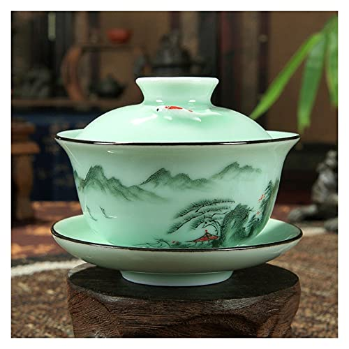 YUANLIN porzellantasse Longquan Gaiwan Set Porzellan Teetasse Handgemalte Blumen Sancai Teetasse 170ml porzellantasse Bone China (Color : Mountain)