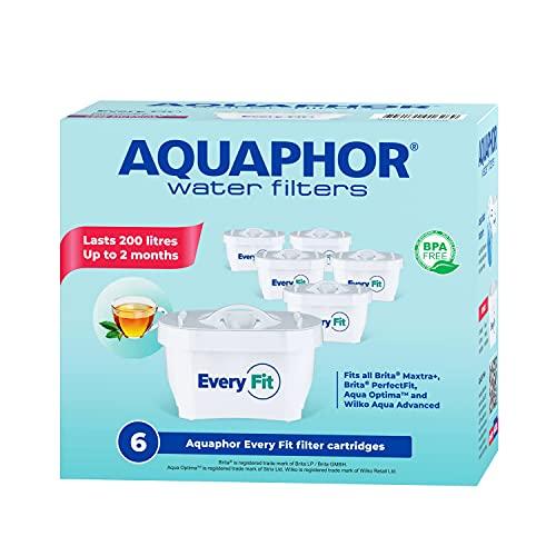 Aquaphor Every Fit Replacement Water Filter cartridges 6pack, FITS BRITA MAXTRA+ and Aqua Optima