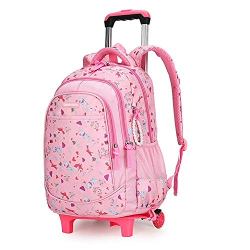Rolling Wheeled Backpack - Trolley School Bag with Wheeled (2 Wheels 6 Wheels)-Pink1-6wheel