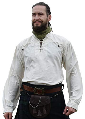 Battle-Merchant Mittelalter-Hemd Ludwig LARP Wikinger Kleidung Herren Natur, L