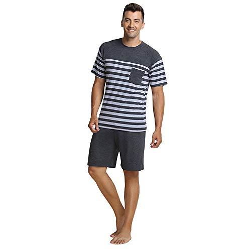 QianXiu Verano Conjunto de Ropa de Dormir Pijamas para Hombre Ropa de Dormir Rayada Ropa Interior de algodón Conjuntos de Pijama de Manga Corta para Hombre