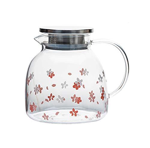 WXXT Tetera de Vidrio,Tetera de borosilicato con infusor de Acero Inoxidable Resistente al Calor té y café,3 Estilos a Elegir(1500ml)