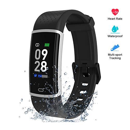 Fitpolo Fitness Uhr, Fitness Armband mit Pulsmesser, Farbbildschirm Wasserdicht Aktivitätstracker Schrittzähler Uhr, Nachrichtenerinnerung,Smart Watch Fitness Tracker Damen Herren für iOS Android