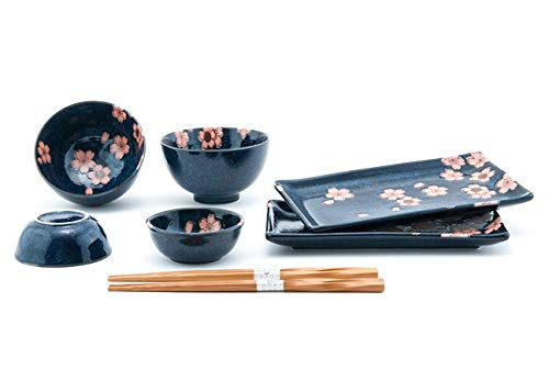 Happy Sales HSDS-CHRBLK, 8 Piece Japanese Dinnerware Sushi Plate Set, Black Cherry