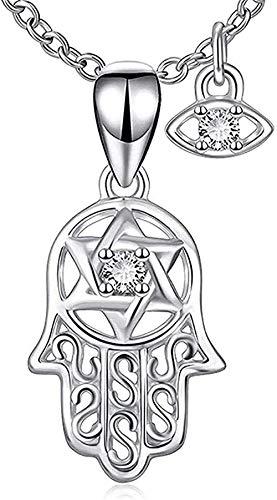 Yiffshunl Collar Mujer S Collar Fátima Mano Collar Mujer S925 Plata de Ley Moda Ojo de Palma Incrustado Diamante Colgante Collar Niñas Niños Collar