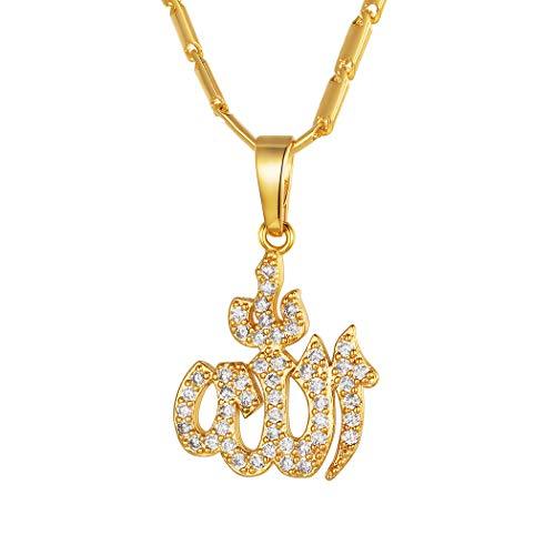 Suplight Damen Collier Arabische Gott Allah Anhänger Halskette 18K Vergoldet mit Zirkonia für Frauen Mädchen Muslim Islamische Amulett Modeschmuck Geschenk für Geburtstag Weihnachten