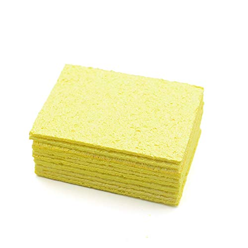 MAOXI 10Pcs Soldering Iron Cleaning Sponge, Enduring Yellow Soldering Tip Cleaner Square Replacement Electric Welding Accessories