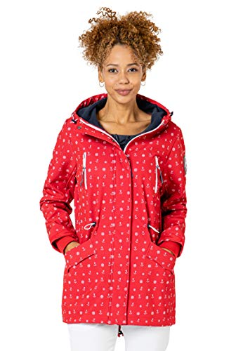 Sublevel Damen Softshell-Jacke Kurzmantel mit Kapuze & Print red M