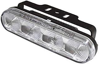 Motorrad LED Tagfahrlicht mit 4 LEDs und Standlichtfunktion rechteckiges Aluminium Gehäuse schwarz mit Universalhalter