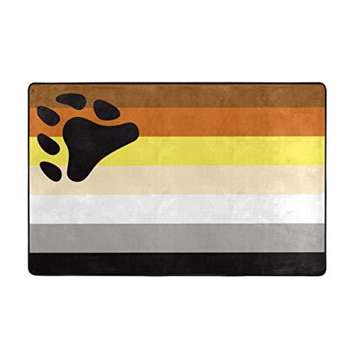YANAIX Alfombrilla baño, Alfombra de Cocina Puerta Pies Estera Felpudo,Política LGBT Gay Bear Orgullo Color Comunidad Pareja Emblema Libertad Diseño Paz 75X45cm
