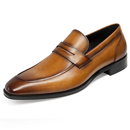 GIFENNSE Men's Dress Shoes Slip-On Loafers Formal Leather Shoes for Men 9.5US Brown