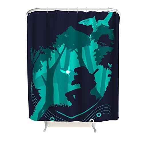 Dofeely Duschvorhang Zelda Printed Anti-Bakteriell Anti-Schimmel Schwert Vorhang Bad Vorhang für Badewanne White 150x200cm