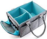 Mollieollie Premium Baby Diaper Caddy Organizer | Portable Nursery Storage Bin | Planner Caddy | Portable Craft Storage Organizer | Car Seat Tote with Zipper Pocket & 5mm Heavy Duty Felt (Grey/Turquoise)