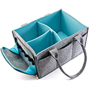 Mollieollie Premium Baby Diaper Caddy Organizer | Portable Nursery Storage Bin | Planner Caddy | Car Seat Tote with Zipper Pocket & 5mm Heavy Duty Felt