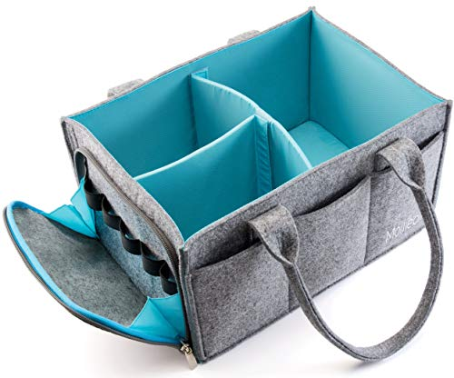 Mollieollie Premium Baby Diaper Caddy Organizer | Portable Nursery Storage Bin | Planner Caddy | Car Seat Tote with Zipper Pocket & 5mm Heavy Duty Felt (Turquoise)