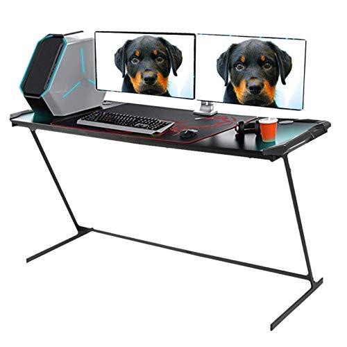 Dioche Escritorio para ordenador de sobremesa o gaming, con forma de Z, tamaño grande, para ordenador de sobremesa, mesa de estudio, con luz LED GB de 150 x 60 x 77,5 cm