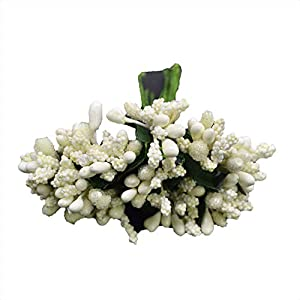 12Pcs/Lot Handcraft Artificial Flowers Stamen Sugar Wedding Party Decoration DIY Wreath Gift Box Scrapbooking Fake Flowers Beige