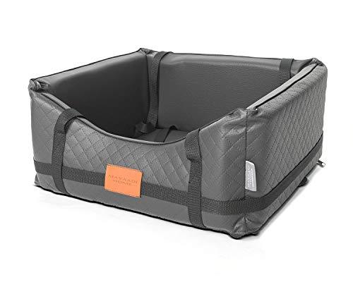 Mayaadi-Home Premiun Hundeautositz - 50 x 45 cm - Hundebett aus hochwertigem Kunstleder - Robuster Autokorb - Pflegeleichter Autositz - Hundekorb bietet optimalen Komfort- Pako Pik - Grau - M