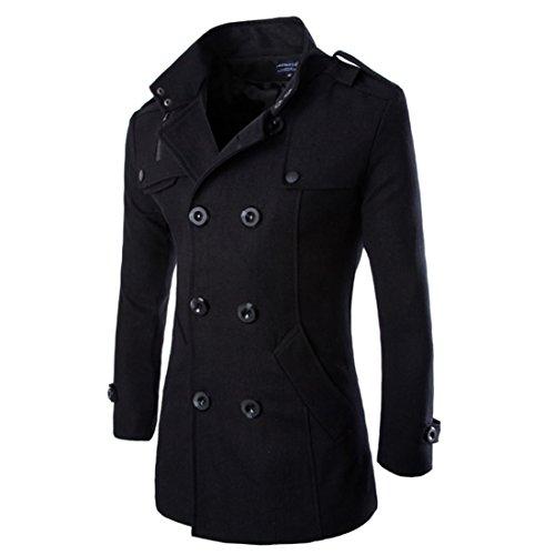 Hombres Otoño Invierno Doble fila Botón Abrigo Top Blusa Chaqueta Hombres Jacket Outerwear Tops Blazer (Negro, EU L(Tag XL))