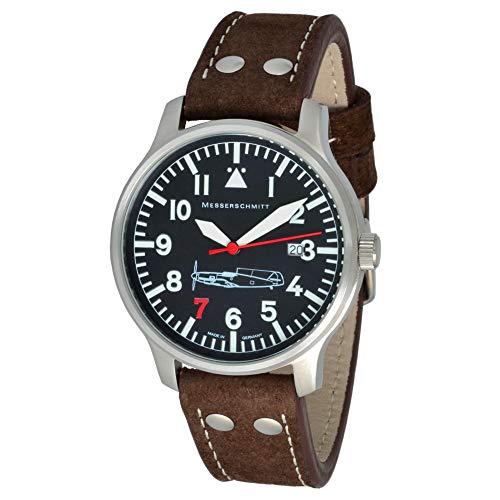 ARISTO Uhr - Messerschmitt Fliegeruhr Edelstahl 'Rote Sieben' mit Ronda Quarzuhrwerk - ME109-42R7