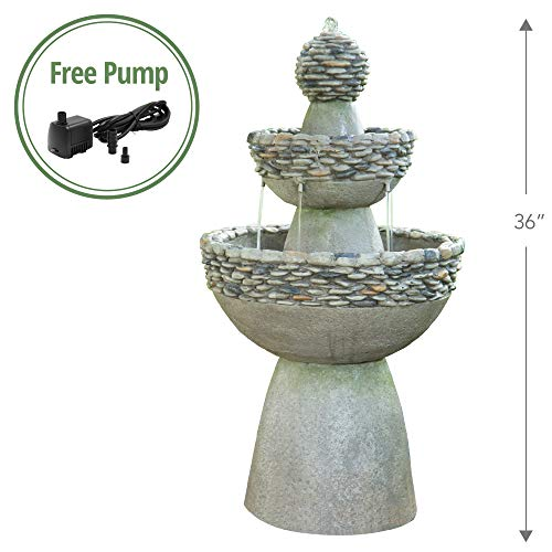 Peaktop FI0030AA Outdoor Zen 3 Level Stone-Like Finish Garden Fountain