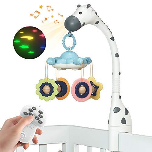 Móvil Cuna Musical bebé,Cuna móvil con luz Nocturna para Cunas,Movil Cuna con Proyector,Movil Musical para Cuna con Sonido y Luces,Móviles Juguetes para Bebés,Juguete Cochecito Bebe Regalos para Cuna