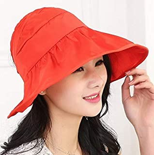 New Fashion Clothing Accessories Wide Large Brim Hat Summer UV Protection Thin Hat 2 in 1 Beach Hat(Blue) (Color : Orange)