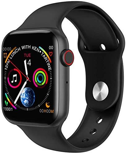 Qin~xiao Bluetooth Smart Uhren W34 Smart Watch Bluetooth Anruf Smartwatch USB-Lade Heart Rate Monitor Music Control Schlaf-Monitor Pedometer-Uhr-Mann Uhr für Männer Frauen Kinder (Color : Black)