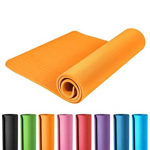 GORILLA SPORTS Yogamatte (173x61cm) - rutschfeste Sportmatte für Pilates, Yoga, Fitness, Workout, Turnen - erhältlich Dicke 0,4cm/1,0cm Farbe Orange, Dicke 10 mm