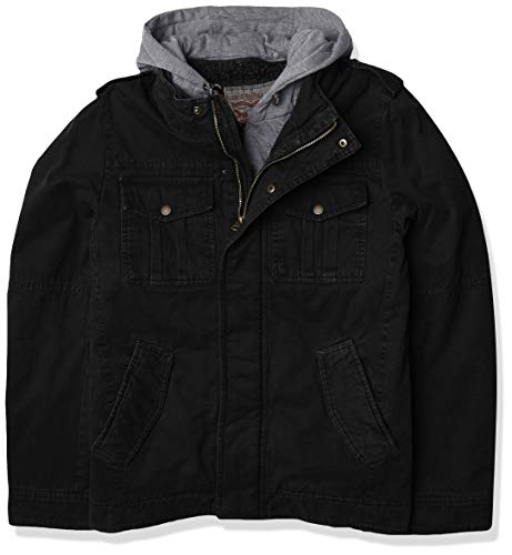 Washed Cotton Hooded Military Jacket,Black,X-Large